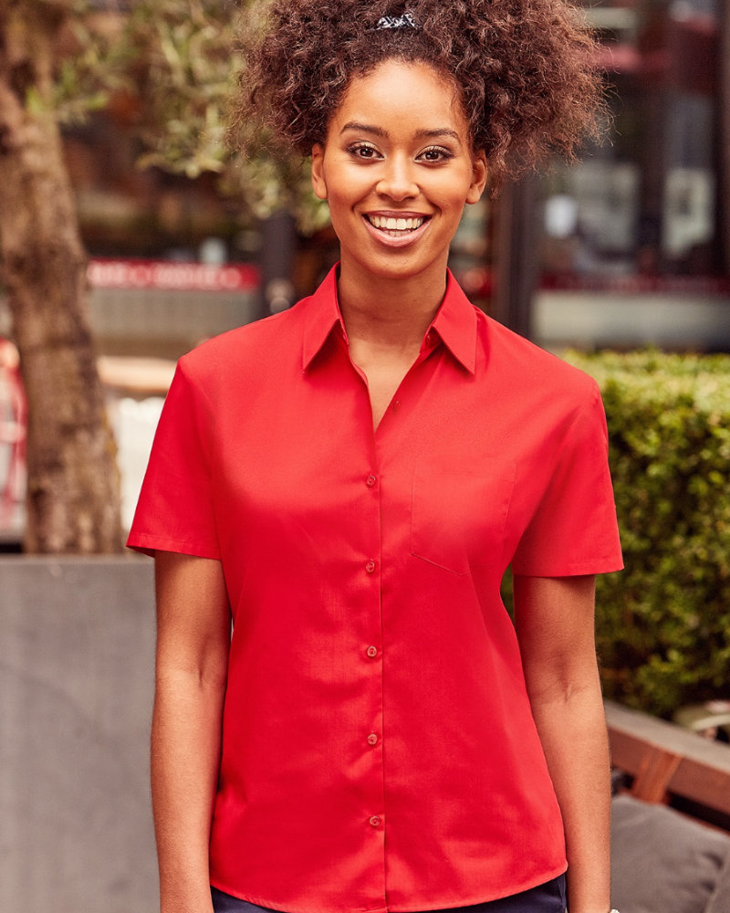 Russell Collection 935F Ladies Short Sleeve Easy Care Poplin Shirt