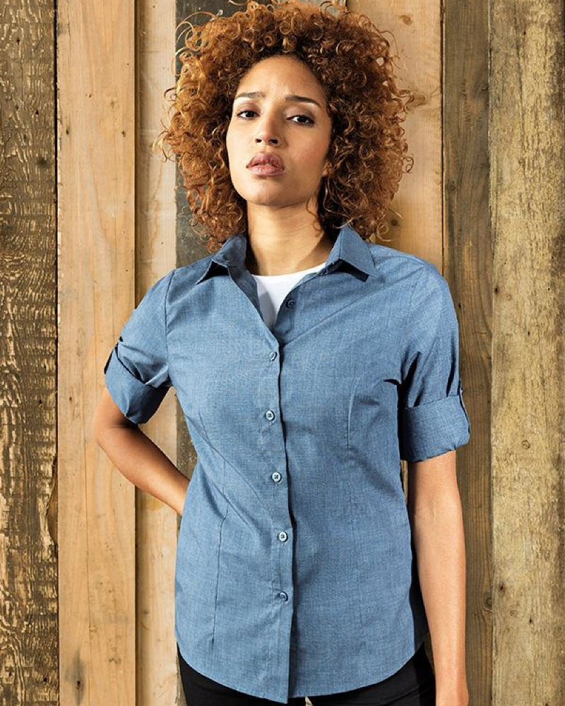 Premier PR317 Ladies Cross-Dye Roll Sleeve Shirt