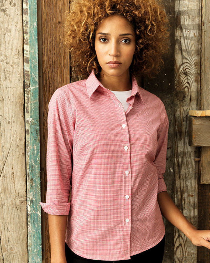 Premier PR320 Ladies Gingham Long Sleeve Shirt