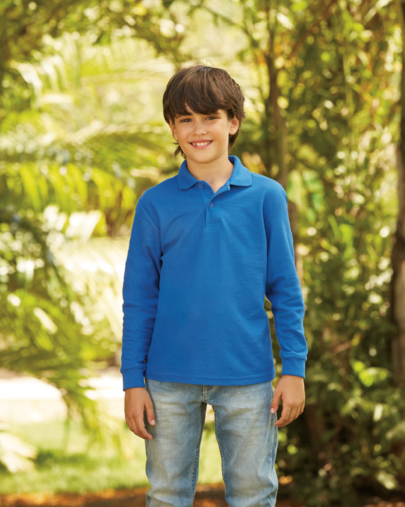 Fruit of the loom SS45B Kids Long Sleeve Poly/Cotton Piqué Polo Shirt