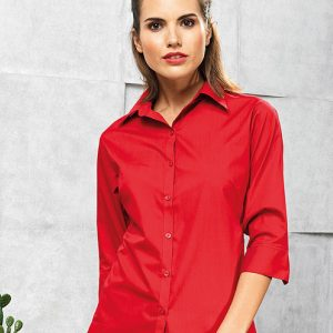 Premier PR305 Ladies 3/4 Sleeve Poplin Shirt