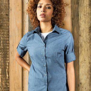 Premier PR317 Ladies Cross-Dye Roll Sleeve Shirt