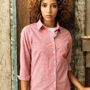 Premier PR320 Ladies Gingham Long Sleeve Shirt