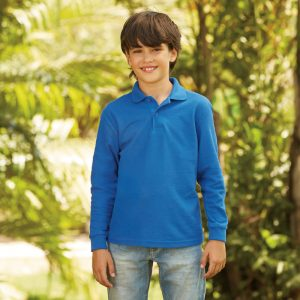 Fruit of the loom SS45B Kids Long Sleeve Poly/Cotton Piqué Polo Shirt